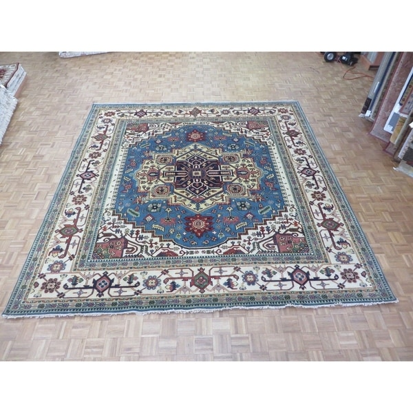 """Hand Knotted Light Blue Serapi Heriz with Wool Oriental Rug (11'10"""" x 12'3"""") 32467586"""