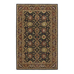 Hand-tufted William Morris Black/ Burgundy Wool Rug (5' x 8')