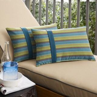 Humble + Haute Sunbrella Astoria Lagoon Stripe and Spectrum Peacock Large Flange Indoor/ Outdoor Lumbar Pillow, Set of 2