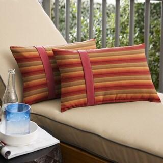 Humble + Haute Sunbrella Astoria Sunset Stripe and Dupione Crimson Large Flange Indoor/ Outdoor Lumbar Pillow, Set of 2