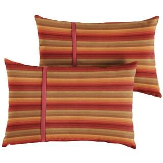 Humble + Haute Sunbrella Astoria Sunset Stripe and Dupione Crimson Small Flange Indoor/ Outdoor Lumbar Pillow, Set of 2