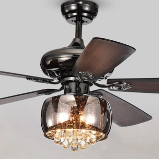 Nettle 3-light Shaded Glass and Crystal 5-blade 52-inch Pear Black Ceiling Fan with Remote