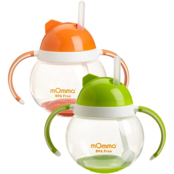 Lansinoh mOmma Straw Cup with Dual Handles - Orange & Green - 2 Pack 32491299