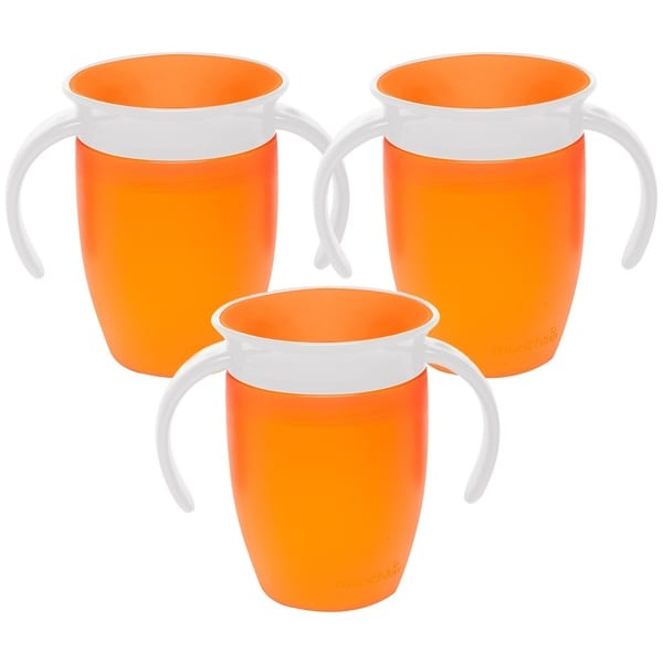 Munchkin Miracle 360 Degree Spoutless Trainer Cup - 7 Ounce  - 3 Pack - Orange/Orange/Orange 32491318