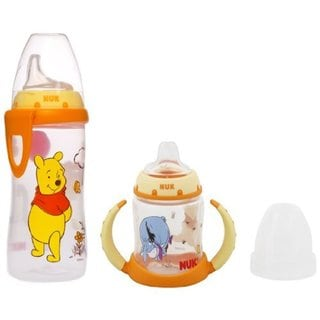 NUK Disney Winnie the Pooh 10 Ounce Active Cup Silicone Spout with NUK Disney Winnie the Pooh 5 Ounce Learner Cup Silicone Spout 32494348