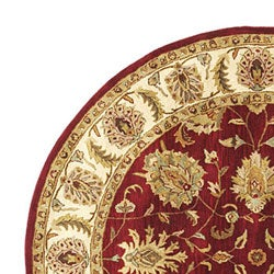 Hand-tufted Agra Red/ Gold Wool Rug (8' Round)