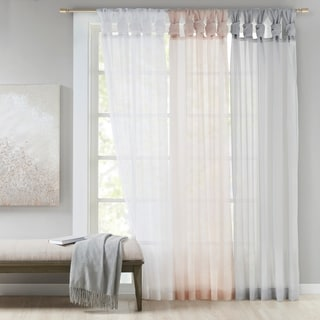Madison Park Elowen White Twist Tab Voile Sheer Curtain Panel Pair