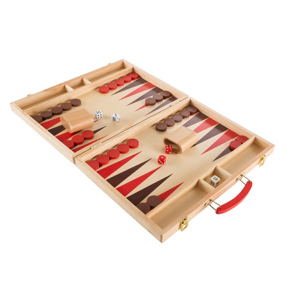 Wood Backgammon Board Game- Complete Set With Folding Board for Storage, Portable Handle, and Full Game by Hey! Play! 32507555