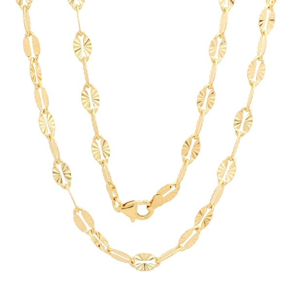 Yellow Gold Plated Bronze Italian 5.5 mm Star Mirror Chain (16-24 Inch) 32512499