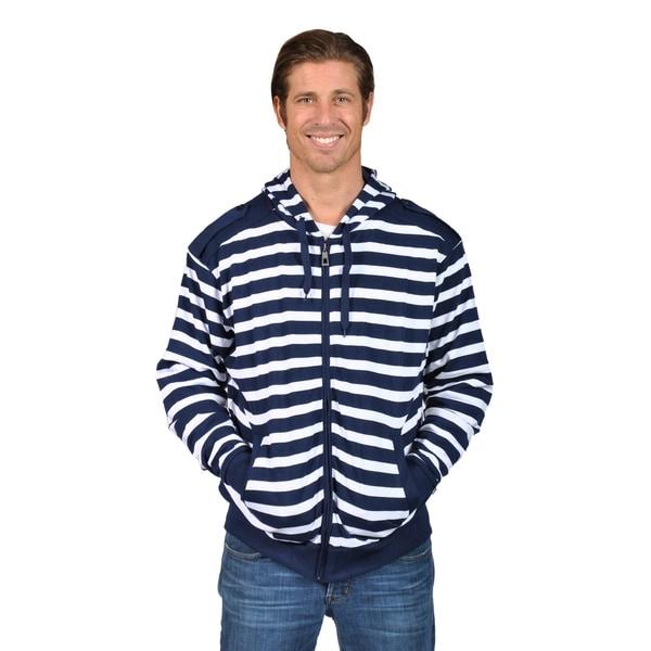 Mens Hooded Striped Shoulder Badge Zip-Up Sweaters Navy 32514796