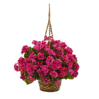 Geranium Hanging Basket Artificial Plant UV Resistant (Indoor/Outdoor)