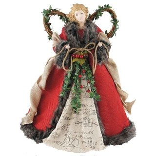 "16"" Holiday Seasonal Decor Red Homespun Angel Christmas Tree Topper"
