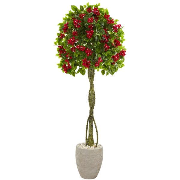 5.5' Bougainvillea Topiary Artificial Tree in Sand Colored Planter 32524901
