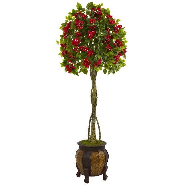 5.5' Bougainvillea Topiary Artificial Tree in Decorative Planter 32524908