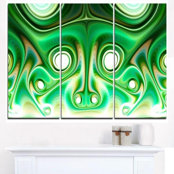 Vibrant Green Fractal Flower Design - Large Abstract Canvas Artwork 32526327