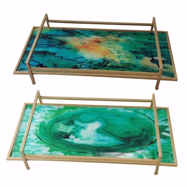 Stylish Art Glass & Metal Trays, Set Of 2, Multicolor 32532533