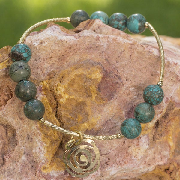 Handmade Gold Overlay 'Rose of the Valley' Turquoise Bracelet (Mexico) 32542672