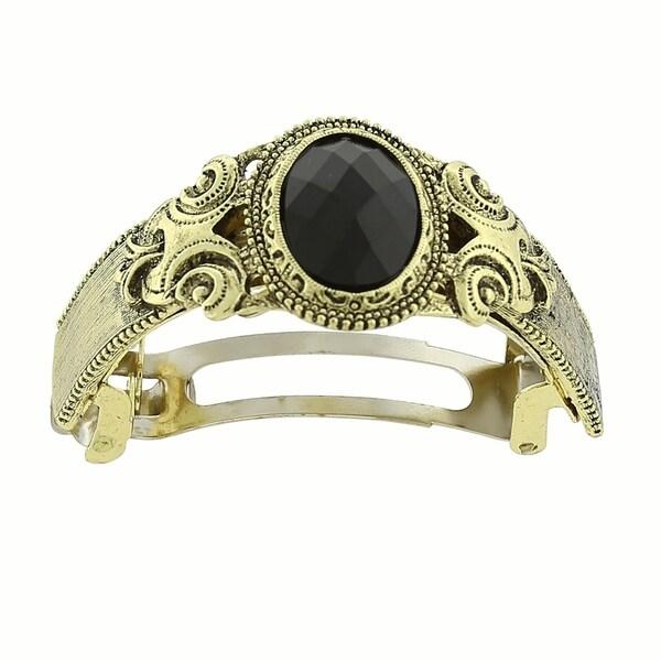 1928 Jewelry Gold Tone Black Stone Ponytail Holder 32543544