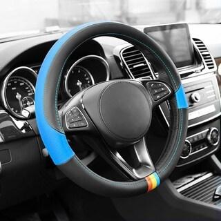 FH Group Blue Full Spectrum Genuine Leather Steering Wheel Cover