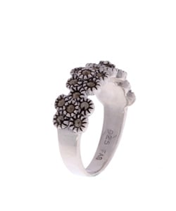 Glitzy Rocks Sterling Silver Marcasite Flower Ring