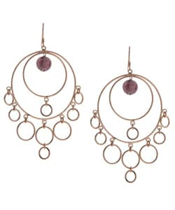 Glitzy Rocks 18k Gold over Sterling Silver Glass Bead Earrings