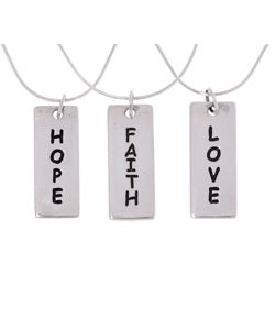 Tressa Sterling Silver Faith Love Hope Rectangle Pendant