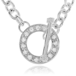 Sterling Silver CZ Circle Toggle Necklace