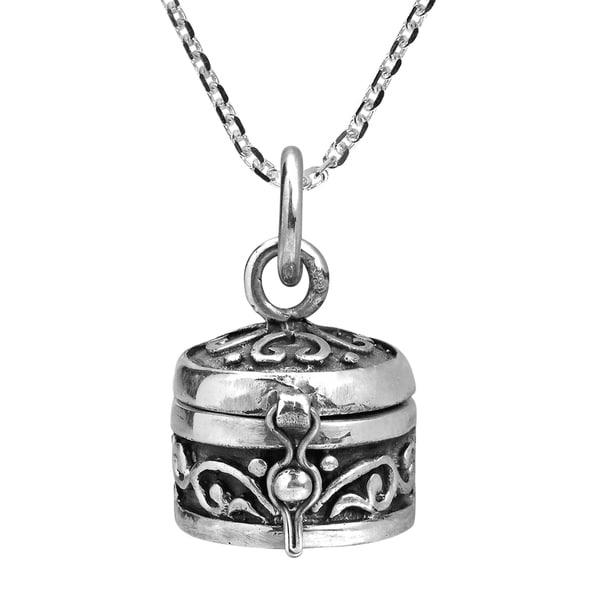 Classic Round Sterling Silver Prayer Box Locket Necklace (Thailand) 32556747