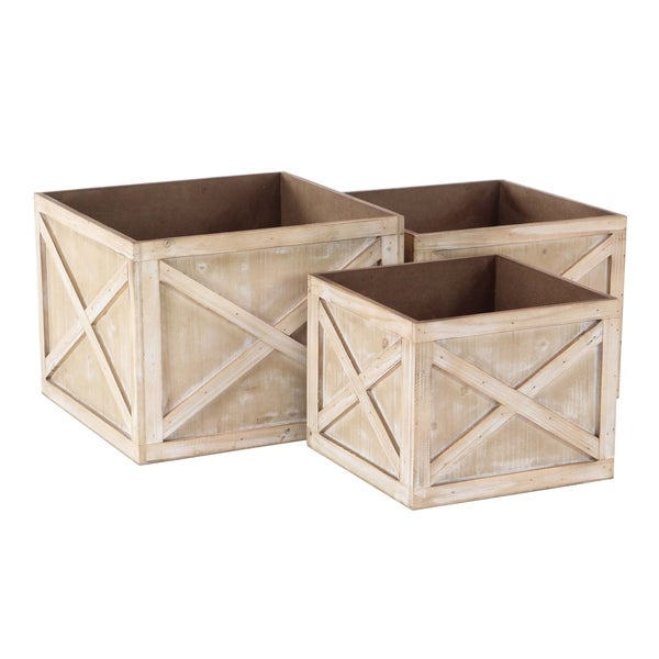 Set of 3 Whitewashed Wooden Square 10, 11, and 12 inch Planters 32561342