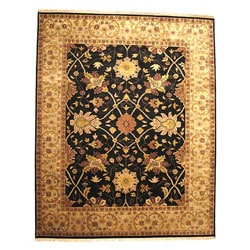 Hand-knotted Nargess Black Wool Rug (10' x 14')