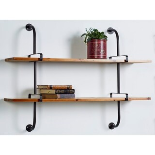 Farmhouse 2-Tiered Rectangular Wood and Iron Wall Shelf by Studio 350