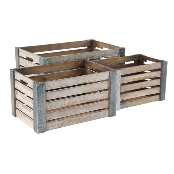 Set of 3 Wooden Pallet Box Planters 32565180