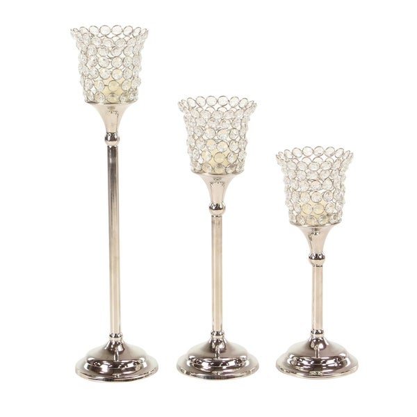 Set of 3 Modern Aluminum Silver Beaded Cup Candle Holders 32575060