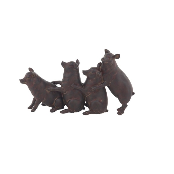 Farmhouse Polystone Standing Pigs Sculpture 32575324