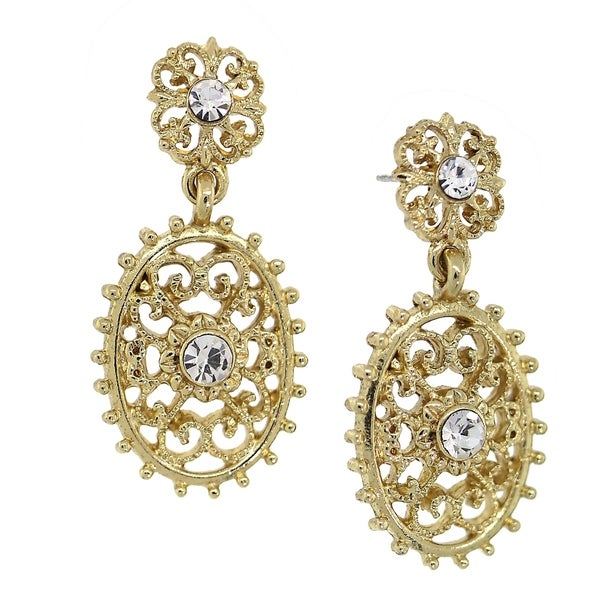 Downton Abbey Gold Tone Crystal Filigree Oval with Aesthetic Beaded Edge Dangle Earrings 32579901