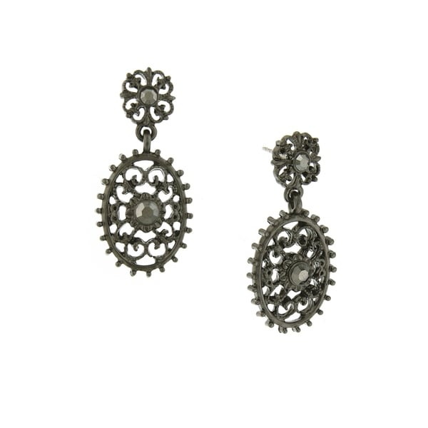 Downton Abbey Black Tone Filigree Oval with Aesthetic Beaded Edge Detail Dangle Earrings 32579944