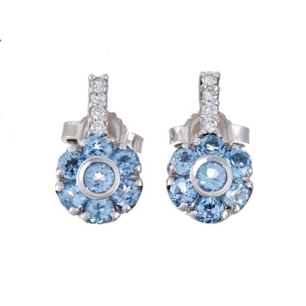 Pasquale Bruni Fiori Womens White Gold Diamond and Topaz Flower Earrings 32583432