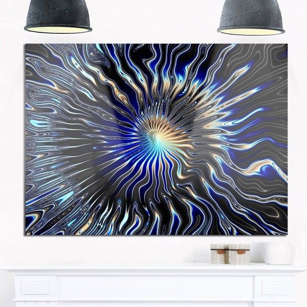 Blue Rays from the Circle - Abstract Art Glossy Metal Wall Art 32599133