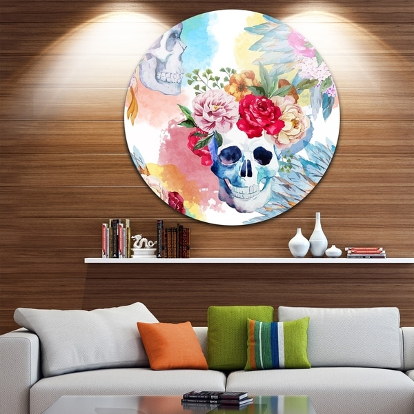 Designart 'Ethnic Skull with Flowers' Floral Disc Aluminium Artwork 32600258