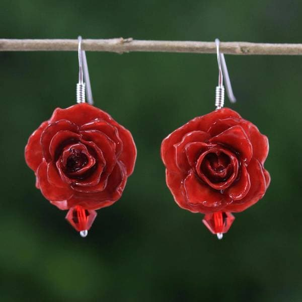 Handmade Natural Rose 'Floral Temptation in Red' Earrings (Thailand) 32609891
