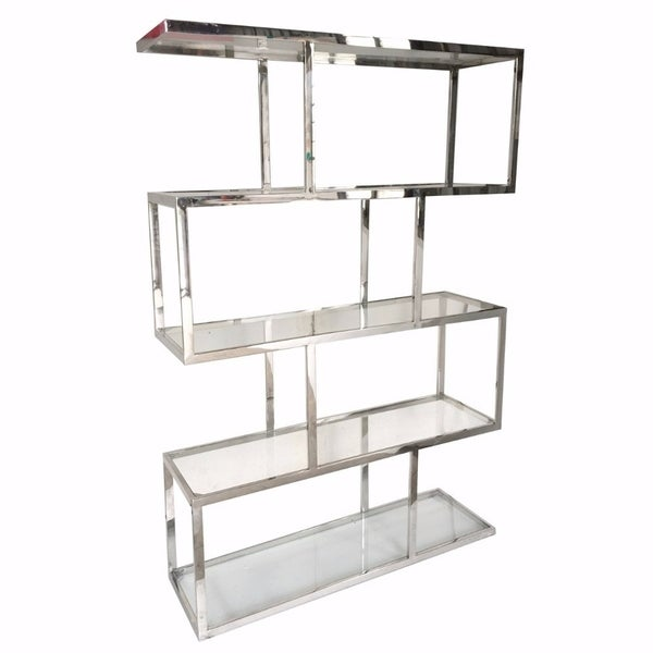 Vesey Metal And Glass Etagere, Silver and Clear 32616271