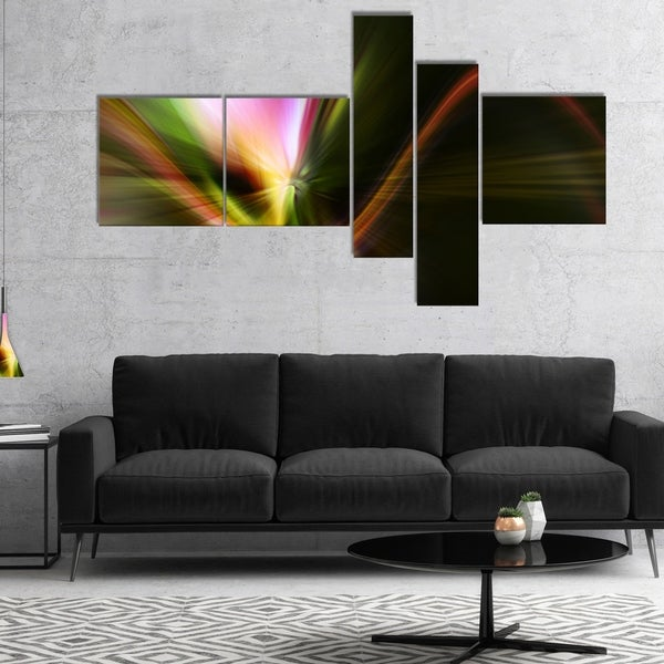 Designart 'Rays of Speed Green' Abstract Canvas art print 32625549