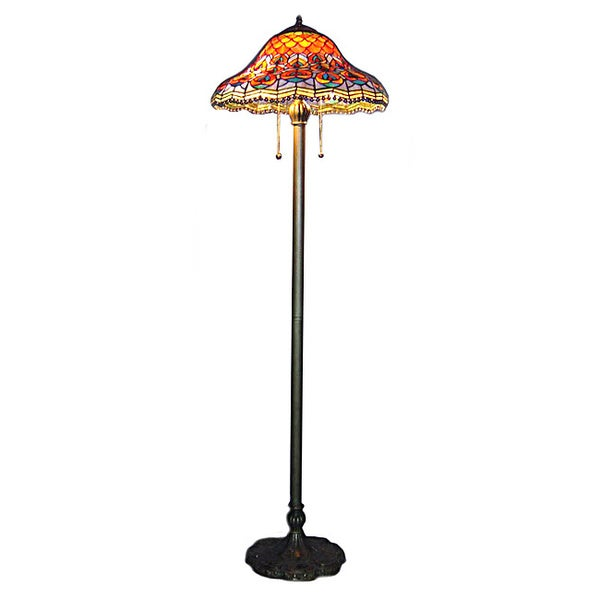 Tiffany-style Peacock Floor Lamp