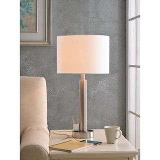 "Nora 27"" Brushed Steel Table Lamp - 2 Outlets"