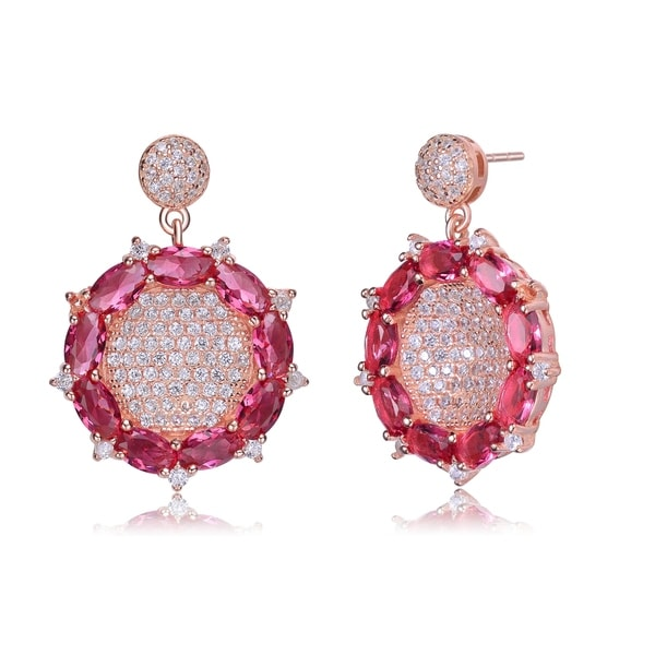 Collette Z Rose Gold Plated Flower Inspired Red Cubic Zirconia Accent Drop Earrings 32677017
