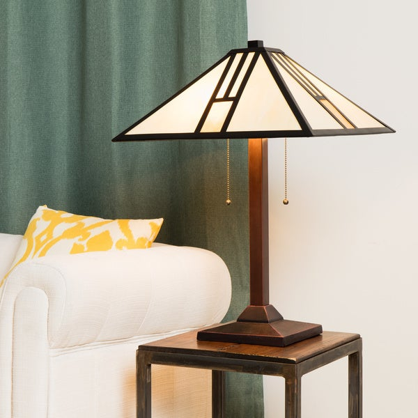 tiffany style white mission style table lamp 10281348 overstock. Black Bedroom Furniture Sets. Home Design Ideas