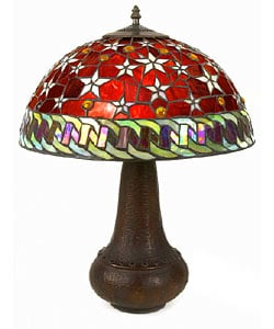 Tiffany-style Red Star Table Lamp