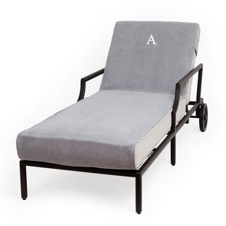 Authentic Turkish Cotton Monogrammed Grey Towel Cover for Standard Size Chaise Lounge Chair