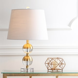 """Jules 23"""" Crystal Mini LED Table Lamp, Brass by JONATHAN Y"""