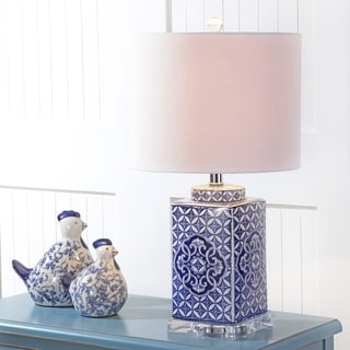 "Choi 23"" Chinoiserie LED Table Lamp, Blue/White by JONATHAN Y"